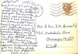 Roma postal history stamp cancelation 1964 continental 100 lire letter USA