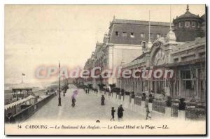 Old Postcard Cabourg Boulevard Des Anglais Grand Hotel And Beach