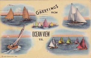 Virginia Greetings From Ocean View 1946 Curteich