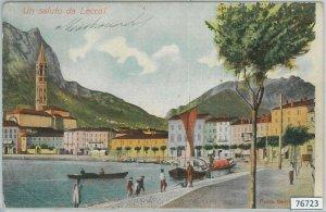 76723   - CARTOLINA d'Epoca -  LECCO Citta' :  SALUTI  1909