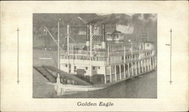 River Steamer Ship Golden Eagle - Mississippi - Iowa? c1910 Postcard