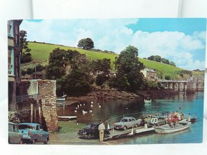 Vintage Postcard Fowey Ferry Unloading Vehicles at Bodinnick Cornwall 1960s