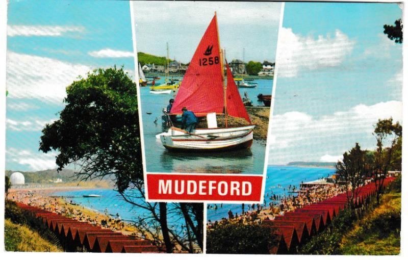 Post Card Dorset MUDEFORD 3 views Dennis Productions M.2219