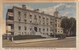Baltimore Maryland Hebrew Hospital Street View Antique Postcard K78625