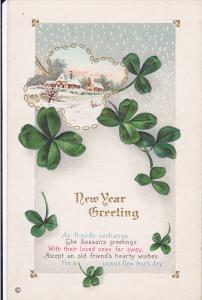 New Year Greeting, Shamrock, Winter Scene, Poem, 10-20s