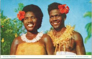 Young Fijians Young Woman Man Red Flowers Fiji Stinson Postcard F9