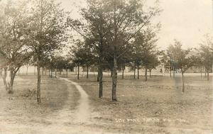 Adams Wisconsin~Dirt Tire Track Path Thru City Park~1921 Real Photo Postcard