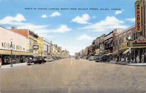 Salina Kansas Santa Fe Avenue Street Scene Antique Postcard K95899