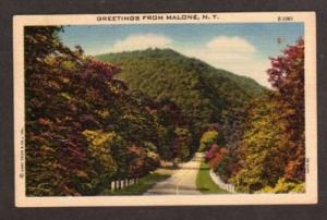 NY Greetings from MALONE NEW YORK Postcard Linen PC