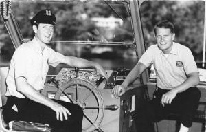 Coast Guard Sailors Posing @ Ship's Wheel~Gray Marine @ Gauges~Names Bk~RPPC