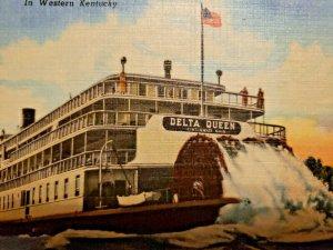 Delta Queen Tennessee River Boat Western Kentucky 1953 VTG Postcard Linen   561
