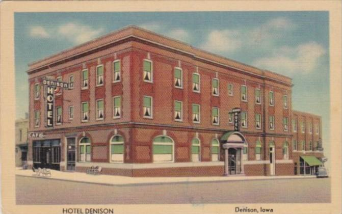 Iowa Denison Hotel On The Lincoln Hiway 1943