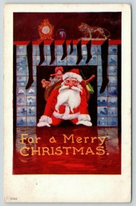 Bernhardt Wall Christmas~Santa Crawls From Fireplace~Black Stockings~Old Nick