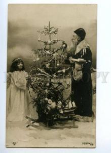 146355 NEW YEAR Santa Claus DED MOROZ & Angel vintage PHOTO PC