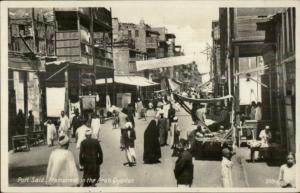 Port Said Egypt Busy Arab Street Scene Real Photo Postcard