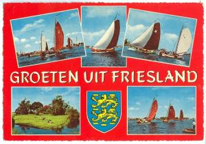 Netherlands, Groeten uit Friesland, 1960s used Postcard