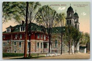 Hudson Michigan~Sacred Heart Catholic Church & Rectory~Parsonage~c1910 PCK