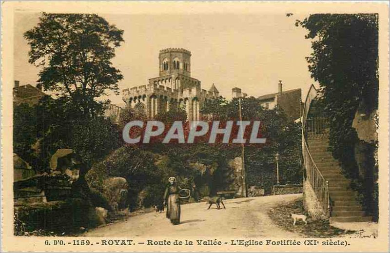 Old Postcard Royat Route Valley Church fortifée