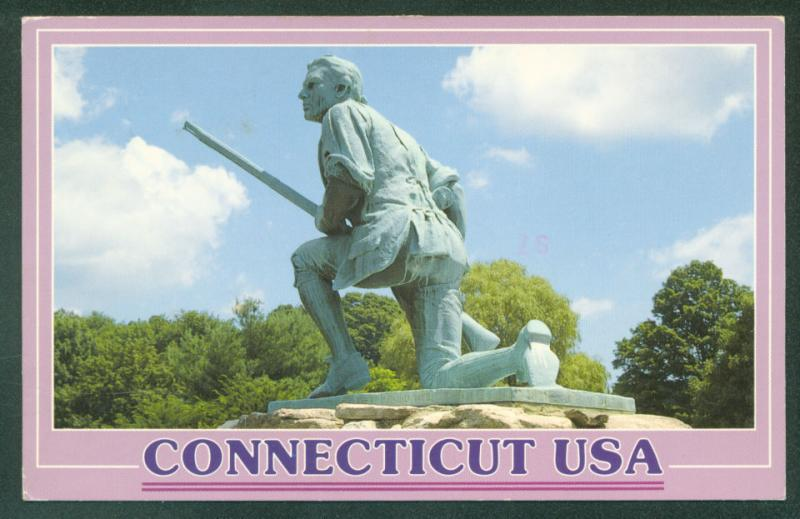 WESTPORT CT Statue Minuteman Statue Monument Connecticut Postcard