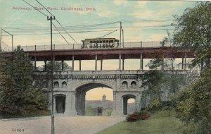 CINCINNATI, Ohio, 1900-10s; Trolley on Archway Bridge , Eden Park