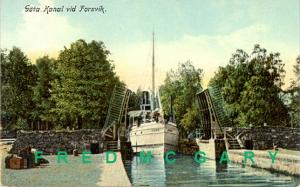 1911 Gote Kanal Postcard: Steamer 'Juno at Gate