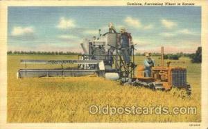 Harvesting Wheat Farming, Farm, Farmer, Postcard Postcards in Kansas Harvesti...
