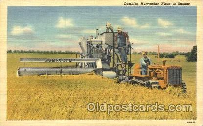 Harvesting Wheat Farming, Farm, Farmer, Postcard Postcards in Kansas Harvesti...