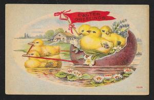 Easter Greetings Chicks in Egg Shell Boat Used c1910s