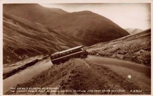 The Devil's Elbow Glenshee Highest Public Road Auto Bus Postcard