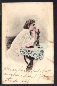 Woman Lighting Cigarette