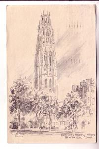 Sketch, Jas Murray, Harkness Memorial Tower, New Haven, Connecticut