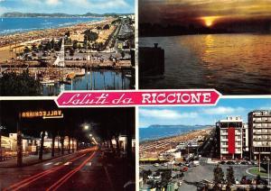 Italy Saluti da Riccione Spiaggia Beach Sunset Harbour Hotel