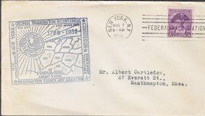 GEORGE WASHINGTON BICENTENNIAL 1932 COVER - NYC Federal Hall Station cancel