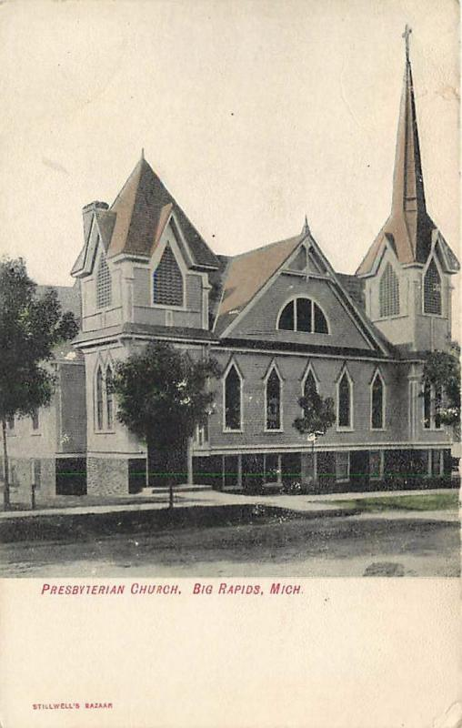 BIG RAPIDS, Michigan  MI   PRESBYTERIAN CHURCH  1900s   UDB   Postcard