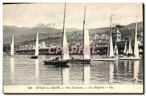 Old Postcard Boat Sailboat Evian les Bains Vue generale The regattas
