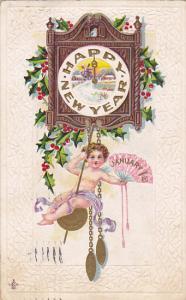 New Year Angel Swinging On Cuckoo Clock 1912