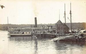 Blue Hill ME Steamer Boothbay At Dock Real Photo Postcard
