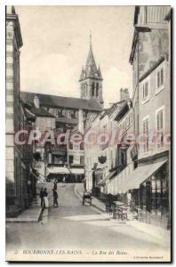 Postcard Old BOURBONNE Les Bains La Rue Des Bains