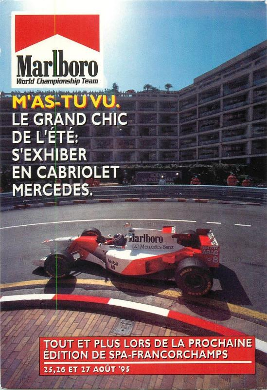 Marlboro advertising Formula One F1 sponsor Car Postcard