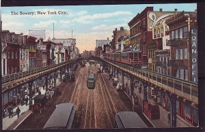 P1471 old unused postcard view traffic trollies etc the bowery new york city