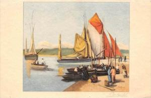 artist Signed  Sail boats   beached