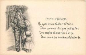 Irma Caspary~Mine Fadder~Little Girl With Her Father~Smoking Pipe~Poem~1909