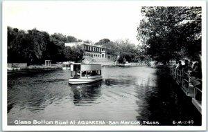 San Marcos, Texas RPPC Real Photo Postcard Glass Bottom Boat AQUARENA c1950s