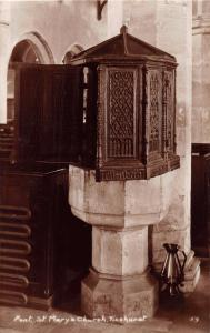 TICEHURST SUSSEX UK ST MARY'S CHURCH FONT~H CAMBURN REAL PHOTO POSTCARD 1929