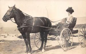 Nampa Idaho~Blanche in Horse Buggy~Close Up~Nice Hat~Quite Windy~1909 RPPC