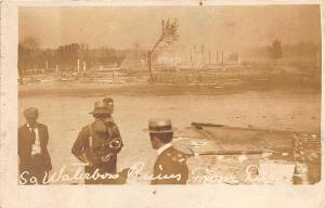 So. Waterboro ME Railroad Station Ruins From 1911 Fire RPPC Postcard