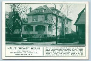 Postcard Washington DC Hall's Homey Tourist House 2357 Rhode Island Ave S19