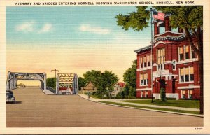 New York Hornell Highway and Bridges Showing Washington School