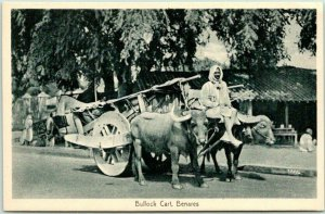 Vintage VARANASI India Postcard Bullock Cart, BENARES Ox Cart / Street Scene