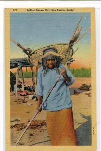 Native American Indian Woman Carrying Burden Basket linen postcard